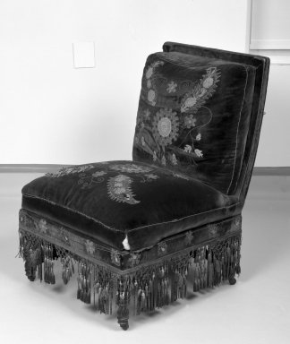 George A. Schastey (1839-1894). <em>Upholstered Slipper Chair, Aesthetic Movement style with Moorish style embroidery (Rockefeller Room)</em>, ca. 1880. Unidentified ebonized wood, original velvet upholstery, 34 x 25 1/4 x 25 in. (86.4 x 64.1 x 63.5 cm). Brooklyn Museum, Gift of John D. Rockefeller, Jr., 46.43.5. Creative Commons-BY (Photo: Brooklyn Museum, 46.43.5_bw.jpg)