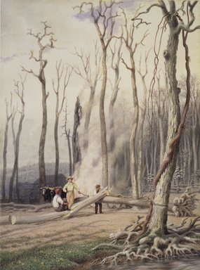 George Harvey (American, 1801-1878). <em>Spring--Burning Fallen Trees, in a Girdled Clearing, Western Scene</em>, ca. 1840. Watercolor over graphite on cream, medium weight, slightly textured wove paper, Sheet: 13 13/16 x 10 5/16 in. (35.1 x 26.2 cm). Brooklyn Museum, Dick S. Ramsay Fund, 46.49 (Photo: Brooklyn Museum, 46.49.jpg)