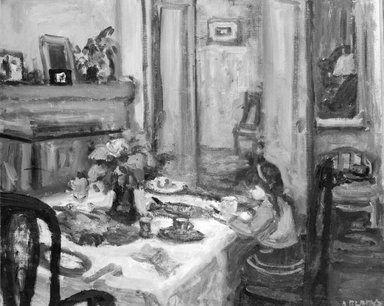 Arbit Blatas (American, born Lithuania, 1908-1999). <em>Dorothea at Breakfast</em>. Oil on canvas, 32 x 36 in. (81.3 x 91.4 cm). Brooklyn Museum, Gift of Alexander Z. Kruse and the Lena Kruse Memorial Collection, 46.53. © artist or artist's estate (Photo: Brooklyn Museum, 46.53_bw.jpg)