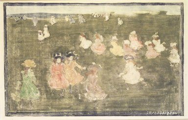 Maurice Brazil Prendergast (American, 1858-1924). <em>Children at Play</em>, ca. 1895-1897. Monotype with colored inks on wove paper, sheet: 10 9/16 x 14 13/16 in. (26.8 x 37.6 cm). Brooklyn Museum, A. Augustus Healy Fund and Dick S. Ramsay Fund, 46.66 (Photo: Brooklyn Museum, 46.66_transpc001.jpg)