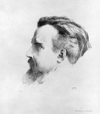 Odilon Redon (French, 1840-1916). <em>Maurice Denis</em>, 1903. Lithograph on China paper laid down on wove paper, 6 x 5 5/16 in. (15.3 x 13.5 cm). Brooklyn Museum, A. Augustus Healy Fund and Dick S. Ramsay Fund, 46.67 (Photo: Brooklyn Museum, 46.67_bw.jpg)