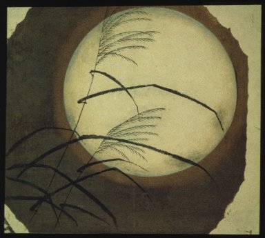 Utagawa Hiroshige (Ando) (Japanese, 1797-1858). <em>Autumn Grass and Full Moon</em>, 19th century. Color woodblock print on paper, 9 1/8 x 10 1/8 in. (23.1 x 25.7 cm). Brooklyn Museum, Gift of Louis V. Ledoux, 46.71.1 (Photo: Brooklyn Museum, 46.71.1_IMLS_SL2.jpg)