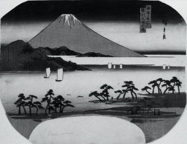 Utagawa Hiroshige (Ando) (Japanese, 1797-1858). <em>Fuji from Mihonoura (fan)</em>, ca. 1843-1847. Woodblock color print, 8 13/16 x 11 7/16 in. (22.4 x 29.1 cm). Brooklyn Museum, Gift of Louis V. Ledoux, 46.71.2 (Photo: Brooklyn Museum, 46.71.2_bw_IMLS.jpg)