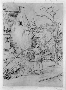 Camille Jacob Pissarro (French, 1830-1903). <em>Woman Emptying a Wheelbarrow (Femme vidant une brouette)</em>, 1880. Etching on laid paper on Ingres pink paper affixed to wove paper, 12 1/2 x 9 1/16 in. (31.7 x 23 cm). Brooklyn Museum, A. Augustus Healy Fund, 46.90 (Photo: Brooklyn Museum, 46.90_bw.jpg)