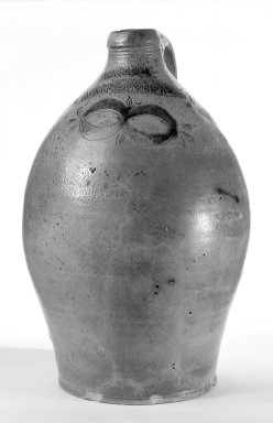 Thomas Warne. <em>Jug</em>, ca. 1800. Stoneware, 14 x 6 3/8 in. (35.6 x 16.2 cm). Brooklyn Museum, Gift of Arthur W. Clement, 47.1.3. Creative Commons-BY (Photo: Brooklyn Museum, 47.1.3_bw.jpg)