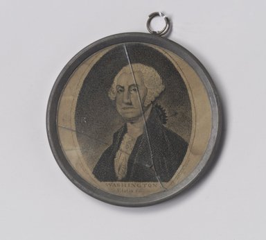 Gilbert Stuart (American, 1755-1828). <em>Frame</em>, ca. 1800. Pewter, glass, paper, 3 1/4 x 3 1/4 x 1/4 in. (8.3 x 8.3 x 0.6 cm). Brooklyn Museum, Gift of Arthur W. Clement, 47.1.6. Creative Commons-BY (Photo: Brooklyn Museum, 47.1.6.jpg)