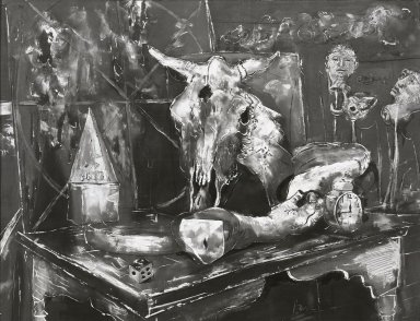 Karl Zerbe (American, 1903-1972). <em>Still Life with Skull</em>, 1946. Gouache, sight: 19 1/4 x 25 1/2 in. (48.9 x 64.8 cm). Brooklyn Museum, Museum Collection Fund, 47.105. © artist or artist's estate (Photo: Brooklyn Museum, 47.105_bw.jpg)