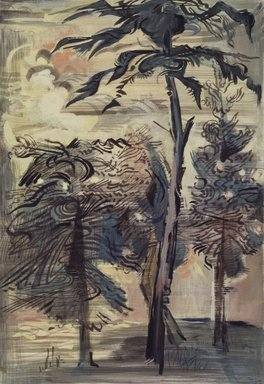 Karl Schrag (American, 1912-1995). <em>Trees Against the Sky</em>, 1946. Transparent and opaque watercolor, porous pen (felt-tip marker), crayon, ink, and mixed media on cream, moderately thick, slightly textured wove paper, 22 9/16 x 15 7/16 in. (57.3 x 39.2 cm). Brooklyn Museum, Dick S. Ramsay Fund, 47.113. © artist or artist's estate (Photo: Brooklyn Museum, 47.113.jpg)