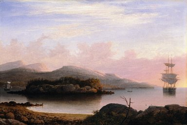Fitz Henry Lane (American, 1804-1865). <em>Off Mount Desert Island</em>, 1856. Oil on canvas, frame: 31 x 43 x 3 1/4 in. (78.7 x 109.2 x 8.3 cm). Brooklyn Museum, Museum Collection Fund, 47.114 (Photo: Brooklyn Museum, 47.114_cropped_SL1.jpg)