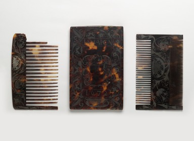 <em>Combs and Case</em>, 1672. Tortoise shell, a, case: 6 1/16 x 3 7/8 x 7/16 in. (15.4 x 9.8 x 1.1 cm). Brooklyn Museum, Carll H. de Silver Fund, 47.116.2a-c. Creative Commons-BY (Photo: Brooklyn Museum, 47.116.2a-c_PS6.jpg)