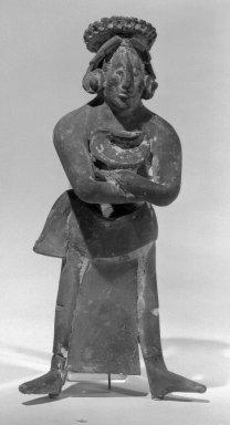 <em>Standing Figurine</em>. Clay, 7 3/16 x 3 7/16 x 1 15/16 in. (18.3 x 8.7 x 5 cm). Brooklyn Museum, Carll H. de Silver Fund, 47.117.2. Creative Commons-BY (Photo: Brooklyn Museum, 47.117.2_acetate_bw.jpg)