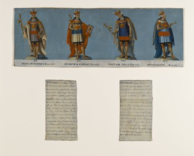 Unknown. <em>Four Inca Kings: Tupac Yupanqui, Huayna Capac, Huascar Inca, Atahuallpa</em>, early 19th century. Oil on canvas, 7 3/4 x 22 3/4 in. (19.7 x 57.8 cm). Brooklyn Museum, Gift of Mrs. Philip Ainsworth Means in memory of Philip Ainsworth Means