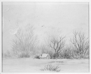 Ralph Albert Blakelock (American, 1847-1919). <em>Snow Scene</em>. Watercolor Brooklyn Museum, Gift of Elizabeth Newbrough, 47.121 (Photo: Brooklyn Museum, 47.121_bw.jpg)