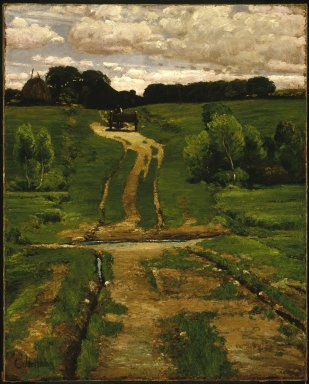 Frederick Childe Hassam (American, 1859-1935). <em>A Back Road</em>, 1884. Oil on canvas, frame: 37 7/8 x 32 x 3 1/4 in. (96.2 x 81.3 x 8.3 cm). Brooklyn Museum, Caroline H. Polhemus Fund, 47.122 (Photo: Brooklyn Museum, 47.122_SL1.jpg)