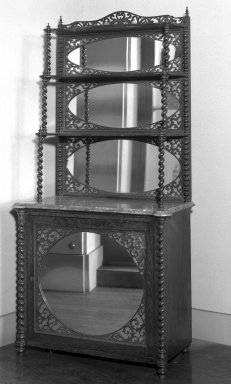 American. <em>Cabinet</em>, ca.1855. Rosewood, mirrored glass, marble, cabinet: 27 1/4 x 15 1/2 x 31 in. (69.2 x 39.4 x 78.7 cm). Brooklyn Museum, Gift of Harriet H. White, 47.134.1. Creative Commons-BY (Photo: Brooklyn Museum, 47.134.1_acetate_bw.jpg)