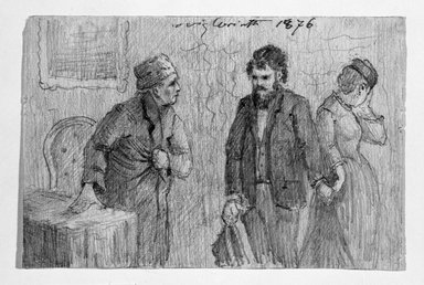 Lovis Corinth (German, 1858-1925). <em>Illustration for a Story</em>, 1876. Drawing in pencil on wove paper, Sheet: 4 1/4 x 6 5/16 in. (10.8 x 16 cm). Brooklyn Museum, Gift of John B. Turner, 47.137.7 (Photo: Brooklyn Museum, 47.137.7_bw.jpg)