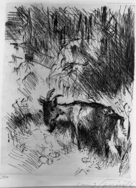Lovis Corinth (German, 1858-1925). <em>Walchensee in Moonlight (Walchensee im Mondschein)</em>, 1921. Etching on wove paper, Other (front cover): 16 7/8 x 14 in. (42.9 x 35.6 cm). Brooklyn Museum, Gift of Lewis Turner, 47.139.2.1 (Photo: Brooklyn Museum, 47.139.2.1_acetate_bw.jpg)