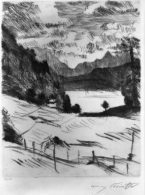 Lovis Corinth (German, 1858-1925). <em>The Walchensee (Der Walchensee)</em>, 1920. Etching and drypoint on wove paper, Image (Plate): 9 3/4 x 7 5/8 in. (24.8 x 19.4 cm). Brooklyn Museum, Gift of Lewis Turner, 47.139.2.2 (Photo: Brooklyn Museum, 47.139.2.2_acetate_bw.jpg)