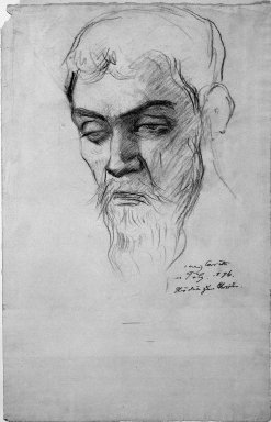 Lovis Corinth (German, 1858-1925). <em>Study for Christus</em>, 1896. Drawing in charcoal on laid paper, Sheet: 18 7/8 x 12 in. (48 x 30.5 cm). Brooklyn Museum, Gift of Lewis Turner, 47.139.3 (Photo: Brooklyn Museum, 47.139.3_bw_IMLS.jpg)