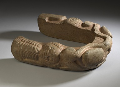 Totonac. <em>Yoke</em>, 700-900. Stone, 3 15/16 x 12 13/16 x 15 3/4 in.  (10 x 32.5 x 40 cm). Brooklyn Museum, Frank L. Babbott Fund, 47.16.2. Creative Commons-BY (Photo: Brooklyn Museum, 47.16.2_PS6.jpg)