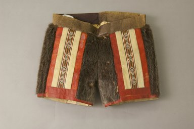 Kalaallit (Greenlander Eskimo). <em>Woman's Short Pants</em>, early 20th century. Leather, fur, 18 x 13 in. (45.7 x 33 cm). Brooklyn Museum, Gift of Sidney Weiner and Harry Hurdy, 47.172.2. Creative Commons-BY (Photo: Brooklyn Museum, 47.172.2_front_PS5.jpg)