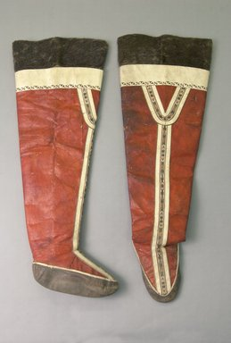 Eskimo (unidentified). <em>Long Boots</em>, early 20th century. Leather, fur, 28  tall x 9 foot x 20 in.Diam, top (71.1 x 22.9 x 50.8 cm). Brooklyn Museum, Gift of Sidney Weiner and Harry Hurdy, 47.172.3a-b. Creative Commons-BY (Photo: Brooklyn Museum, 47.172.3a-b_PS5.jpg)
