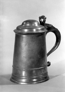 American. <em>Tankard</em>, 1764-1798. Pewter, 7 5/8 x 6 3/4 x 4 3/4 in. (19.4 x 17.1 x 12.1 cm). Brooklyn Museum, Dick S. Ramsay Fund, 47.182. Creative Commons-BY (Photo: Brooklyn Museum, 47.182_bw.jpg)