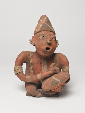 Nayarit. <em>Figurine of a Man</em>, 100 BCE - 200 CE. Ceramic, pigment, 9 1/2 x 6 1/2 x 5 1/2 in. (24.1 x 16.5 x 14 cm). Brooklyn Museum, Frank L. Babbott Fund, 47.186.1. Creative Commons-BY (Photo: , 47.186.1_overall_PS9.jpg)