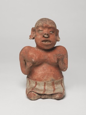 Nayarit. <em>Figurine of a Woman</em>, 100 BCE - 200 CE. Ceramic, pigment, 8 1/2 x 5 1/2 x 5 in. (21.6 x 14 x 12.7 cm). Brooklyn Museum, Frank L. Babbott Fund, 47.186.2. Creative Commons-BY (Photo: , 47.186.2_overall_PS9.jpg)