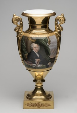 Unknown. <em>Vase, One of a Pair, John Adams</em>, ca. 1826-1830. Porcelain, overglaze enamel, gilt, 17 1/2 x 9 1/2 x 7 in.  (44.5 x 24.1 x 17.8 cm). Brooklyn Museum, Museum Collection Fund, 47.19.1. Creative Commons-BY (Photo: Brooklyn Museum, 47.19.1_PS11.jpg)