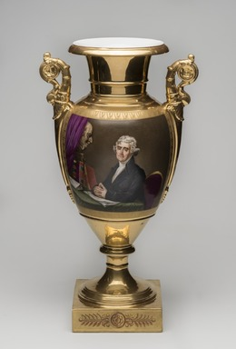 Unknown. <em>Vase, One of a Pair, Thomas Jefferson</em>, ca. 1826-1830. Porcelain, overglaze enamel, gilt, 17 1/2 x 9 1/2 x 7 in.  (44.5 x 24.1 x 17.8 cm). Brooklyn Museum, Museum Collection Fund, 47.19.2. Creative Commons-BY (Photo: Brooklyn Museum, 47.19.2_PS11.jpg)