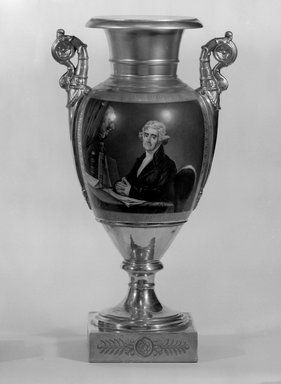 Unknown. <em>Vase, One of a Pair, Thomas Jefferson</em>, 1828-1830. Porcelain, overglaze enamel, gilt, 17 1/2 x 9 1/2 x 7 in.  (44.5 x 24.1 x 17.8 cm). Brooklyn Museum, Museum Collection Fund, 47.19.2. Creative Commons-BY (Photo: Brooklyn Museum, 47.19.2_bw.jpg)