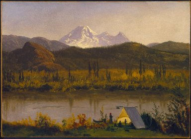 Albert Bierstadt (American, born Germany, 1830-1902). <em>Mt. Baker, Washington, From the Frazier River</em>, 1890. Oil on paper mounted to canvas, 14 1/4 x 19 5/8 in. (36.2 x 49.8 cm). Brooklyn Museum, Dick S. Ramsay Fund, 47.196 (Photo: Brooklyn Museum, 47.196_SL1.jpg)