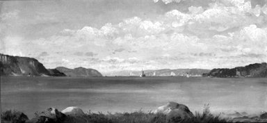 John Williamson (American, 1826-1885). <em>Tappan Zee, from Glenwood</em>, 1872. Oil on canvas, 9 9/16 x 19 in. (24.3 x 48.3 cm). Brooklyn Museum, Dick S. Ramsay Fund, 47.197 (Photo: Brooklyn Museum, 47.197_bw.jpg)