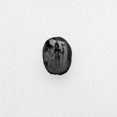 <em>Scarab Form Magic Gem</em>. Carnelian, height: 1/4 in. (0.7 cm). Brooklyn Museum, Bequest of Anna T. Kellner, 47.2.2. Creative Commons-BY (Photo: Brooklyn Museum, 47.2.2_NegA_bw_SL1.jpg)