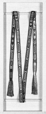 Tabriz. <em>Kumarband</em>. Silk with inscriptions, L 188cm. Brooklyn Museum, Henry L. Batterman Fund, 47.203.21. Creative Commons-BY (Photo: Brooklyn Museum, 47.203.21_bw.jpg)
