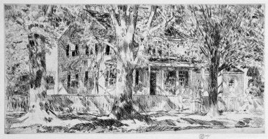 Frederick Childe Hassam (American, 1859-1935). <em>House on the Main Street, Easthampton</em>, 1922. Etching on paper, Sheet: 8 7/16 x 14 in. (21.4 x 35.6 cm). Brooklyn Museum, Dick S. Ramsay Fund, 47.206.1 (Photo: Brooklyn Museum, 47.206.1_bw_SL1.jpg)