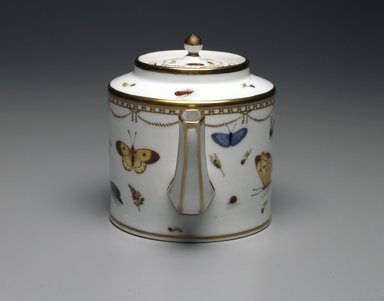 Copy of Meissen Porcelain Factory (German, founded 1710). <em>Teapot: Part of 17-Piece Tea Service</em>, ca. 1825-1830. Porcelain, height: 5 3/8 in. Brooklyn Museum, Gift of Susan D. Bliss, 47.210.57. Creative Commons-BY (Photo: Brooklyn Museum, 47.210.57_front_SL4.jpg)