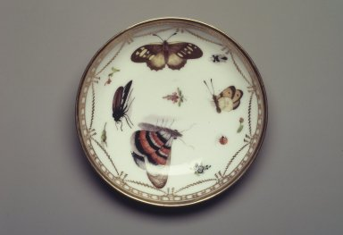 Copy of Meissen Porcelain Factory (German, founded 1710). <em>Saucer: Part of 17-Piece Tea Service</em>, ca. 1825-1830. Porcelain, height: 1 1/4 in. Brooklyn Museum, Gift of Susan D. Bliss, 47.210.72. Creative Commons-BY (Photo: Brooklyn Museum, 47.210.72.jpg)