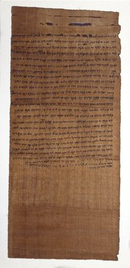 Aramaic. <em>Property Transfer Document: Ananiah Gives Yehoishema Another Part of the House</em>, November 25 or November 26, 404 B.C.E. Papyrus, ink, mud, Glass: 30 5/16 x 15 5/16 in. (77 x 38.9 cm). Brooklyn Museum, Bequest of Theodora Wilbour from the collection of her father, Charles Edwin Wilbour, 47.218.92 (Photo: Brooklyn Museum, 47.218.92_SL3.jpg)
