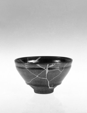<em>Bowl</em>, 960-1279. Stoneware, Jian ware from Fujian, 2 3/4 x 4 3/4 in. (7 x 12 cm). Brooklyn Museum, Anonymous gift, 47.219.53. Creative Commons-BY (Photo: Brooklyn Museum, 47.219.53_side_bw.jpg)