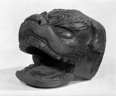 <em>Animal Head</em>, 18th century. Lacquered wood, 5 3/4 x 6 1/2 x 6 1/2 in. (14.6 x 16.5 x 16.5 cm). Brooklyn Museum, Anonymous gift, 47.219.62. Creative Commons-BY (Photo: Brooklyn Museum, 47.219.62_bw.jpg)