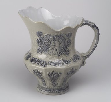 American. <em>Pitcher</em>, 19th century. Stoneware, 9 3/4 x 9 1/2 x 6 1/2 in. (24.8 x 24.1 x 16.5 cm). Brooklyn Museum, Gift of Mrs. Willard C. Brinton, 47.30.2. Creative Commons-BY (Photo: Brooklyn Museum, 47.30.2.jpg)