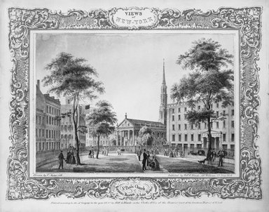 Charles Autenrieth (American, mid 19th century). <em>St. Paul's Church</em>, 1850. Lithograph Brooklyn Museum, Dick S. Ramsay Fund, 47.6.3 (Photo: Brooklyn Museum, 47.6.3_bw.jpg)