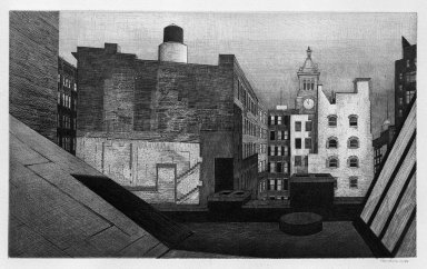Armin Landeck (American, 1905-1984). <em>Rooftops 14th Street</em>, 1946. Drypoint on wove paper, Sheet: 12 13/16 x 18 3/8 in. (32.5 x 46.7 cm). Brooklyn Museum, Dick S. Ramsay Fund, 47.66. © artist or artist's estate (Photo: Brooklyn Museum, 47.66_acetate_bw.jpg)