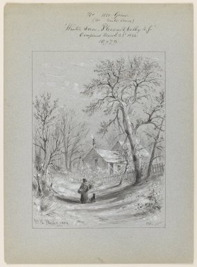 William Rickarby Miller (American, 1818-1893). <em>Winter Scene, Pleasant Valley, New York</em>, March 22, 1884. Pen, ink and wash on paper, Sheet: 14 3/4 x 10 3/4 in. (37.5 x 27.3 cm). Brooklyn Museum, Dick S. Ramsay Fund, 47.7.3 (Photo: Brooklyn Museum, 47.7.3_IMLS_PS3.jpg)