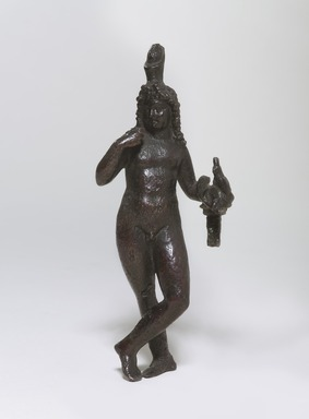 <em>Standing Statuette of Harpocrates in the Greek Style</em>, 305-30 B.C.E. Bronze, 5 13/16 in. (14.8 cm). Brooklyn Museum, Charles Edwin Wilbour Fund, 47.87. Creative Commons-BY (Photo: Brooklyn Museum, 47.87_PS9.jpg)