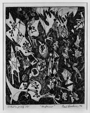 Frederick Gerhard Becker (American, 1913-2004). <em>Inferno</em>, 1946. Etching Brooklyn Museum, Gift of Samuel Golden, 47.94.10. © artist or artist's estate (Photo: Brooklyn Museum, 47.94.10_bw.jpg)