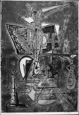 Boris Margo (American, 1902-1995). <em>Alchemist, No. Two</em>, n.d. Cellocut on paper, image: 33 9/16 x 22 15/16 in. (85.3 x 58.3 cm). Brooklyn Museum, Gift of Samuel Golden, 47.94.2. © artist or artist's estate (Photo: Brooklyn Museum, 47.94.2_acetate_bw.jpg)
