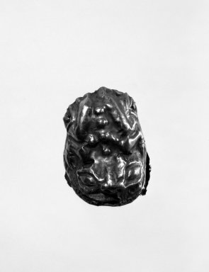 <em>Hollow Repoussé Amulet in the Form of a Frog</em>. Gold, 1 x 1 x 1 3/16 in. (2.5 x 2.5 x 3 cm). Brooklyn Museum, Henry L. Batterman Fund, 47.9. Creative Commons-BY (Photo: Brooklyn Museum, 47.9_bw.jpg)